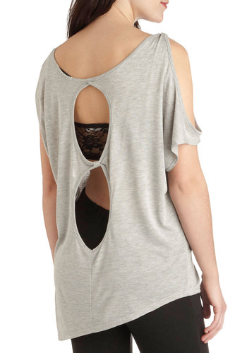Hit the Roadtrip Top - Grey, Solid, Cutout, Casual, Short Sleeves, Long, Summer, Travel, Grey, Short Sleeve, Festival