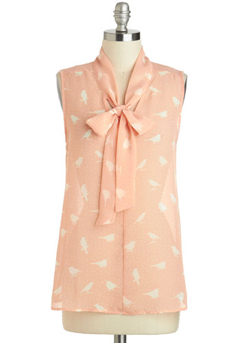 Aviary Afternoon Top - Pink, White, Polka Dots, Tie Neck, Sleeveless, Daytime Party, Sheer, Mid-length, Print with Animals, Pinup, Variation, Summer