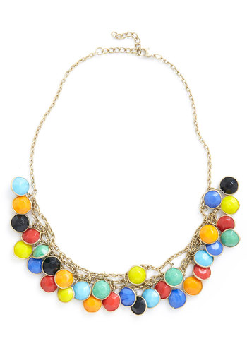 Catch a Glint Necklace - Multi, Gold, Statement