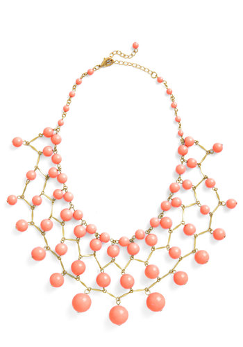 Bob, Bob, Baublin' Along Necklace in Coral - Coral, Gold, Solid, Beads, Tiered, Statement, Party, Bridesmaid