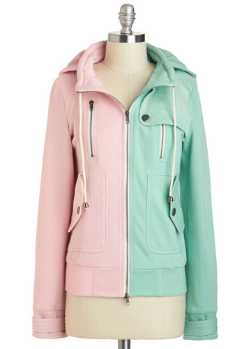 Leipzig Hoodie in Mint and Pink - 2, Mint, Solid, Pockets, Casual, Pastel, Hoodie, Long Sleeve, Spring, Fall, Travel, Winter, Mint, Sweatshirt, Basic, Exclusives, Knit, Multi, Short