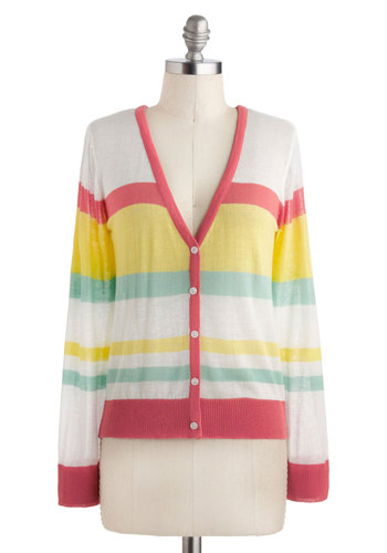 Italian Ice And Easy Cardigan - Multi, Red, Yellow, Green, White, Stripes, Buttons, Casual, Long Sleeve, Short, Winter, Travel