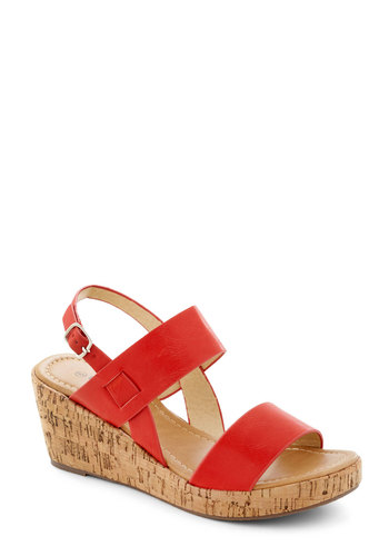 Have a Good Daydream Wedge in Red - Red, Mid, Platform, Wedge, Daytime Party, Variation, Solid, Beach/Resort, Summer