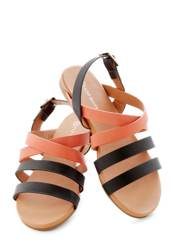 Sunset on the Dunes Sandal - Black, Colorblocking, Summer, Flat, Beach/Resort, Coral, Casual, Faux Leather
