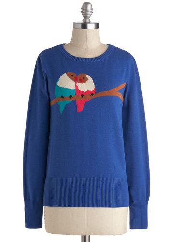 Love Nest Sweater in Blue by Louche - Print with Animals, Cotton, Blue, Brown, White, Coral, Long Sleeve, Winter