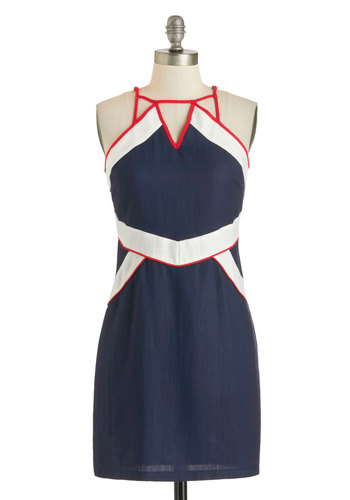 Passport of Call Dress - Mid-length, Blue, Red, White, Cutout, Casual, Nautical, Shift, Sleeveless, Colorblocking