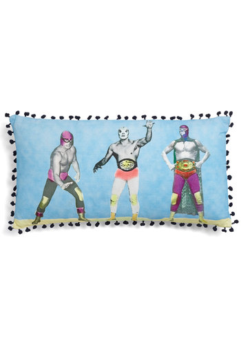 Luchador-able Pillow - Cotton, Blue, Quirky, Dorm Decor