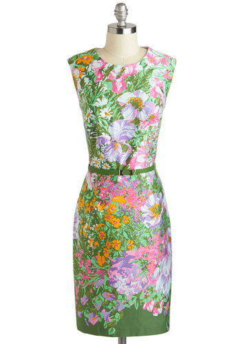 Life of the Garden Party Dress - Floral, Green, Multi, Cutout, Belted, Daytime Party, Sheath / Shift, Sleeveless, Scoop, Wedding, Spring, Cotton, Mid-length