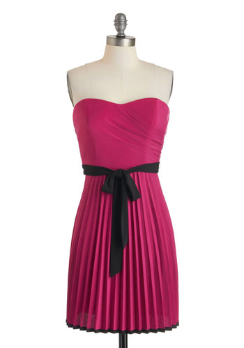 Pretty in Plum Dress - Short, Pink, Black, Solid, Pleats, Belted, Party, A-line, Strapless, Sweetheart