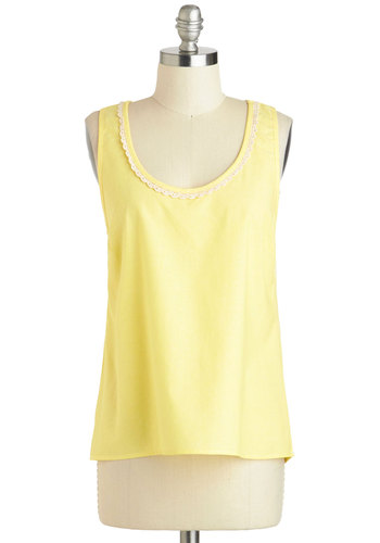 Never Been Butter Top - Cotton, Mid-length, Yellow, White, Solid, Lace, Vintage Inspired, 70s, Sleeveless, Summer, Travel