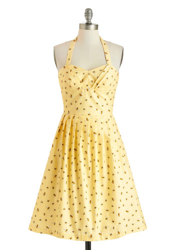 Bee My Honey Dress by Myrtlewood - Exclusives, Cotton, Yellow, Multi, Print with Animals, Pockets, Daytime Party, Halter, Sweetheart, Pleats, Vintage Inspired, 50s, Fit & Flare, Spring, Summer, Pinup, Private Label, Long
