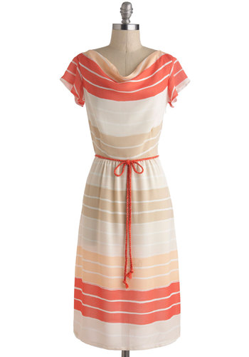 Coral Comber Dress - Cream, Tan / Cream, Coral, Stripes, Belted, Casual, A-line, Short Sleeves, Cowl, Long