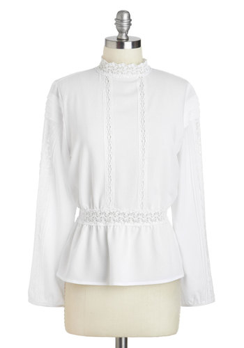 Happily Alabaster Top - White, Solid, Trim, Work, Peplum, Long Sleeve, Mid-length