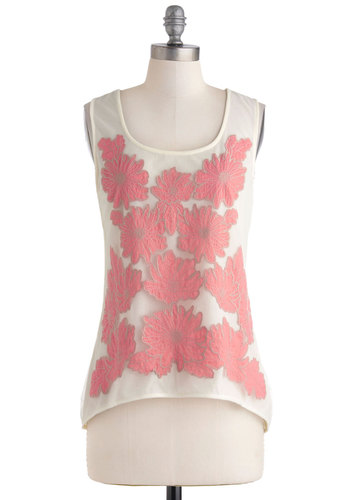 Honolulu Hello Top - Sheer, Mid-length, Cream, Coral, Floral, Sleeveless, Summer, Travel