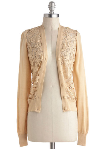 While You Were Steeping Cardigan - Cream, Solid, Buttons, Lace, Work, Long Sleeve, Short, Crochet