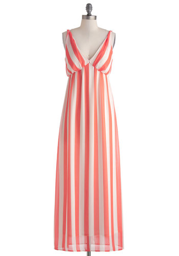 Breezy Street Dress - Orange, Stripes, Casual, Maxi, Tank top (2 thick straps), V Neck, Long, White, Beach/Resort, Empire, Summer