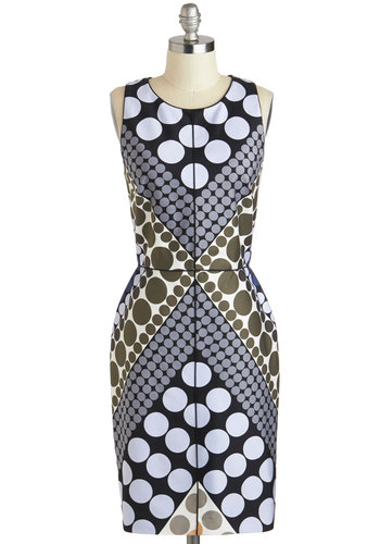 Stunning in Circles Dress - Multi, Polka Dots, Party, Sheath / Shift, Scoop, Exposed zipper, Cocktail, Racerback, Cotton, Mid-length, Work