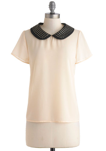 Soho Savvy Top - Sheer, Mid-length, Cream, Black, Solid, Buttons, Peter Pan Collar, Studs, Work, Collared