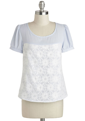 Girl, Can We Frill? Top - Mid-length, Blue, White, Solid, Lace, Work, Short Sleeves, Daytime Party, Pastel, Spring, Scoop