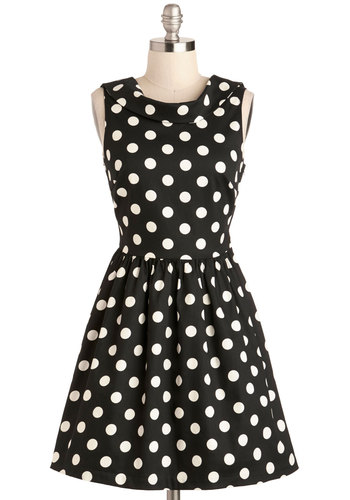 One Swell Swoop Dress - Cotton, Mid-length, Black, White, Polka Dots, Backless, Party, Fit & Flare, Sleeveless, Scoop, Daytime Party, Vintage Inspired, 50s, 60s