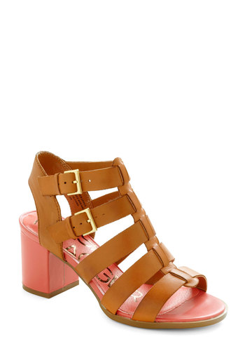 Hot on Your Heel by Kelsi Dagger - Tan, Solid, Buckles, Peep Toe, Chunky heel, Slingback, Mid, Coral, Summer