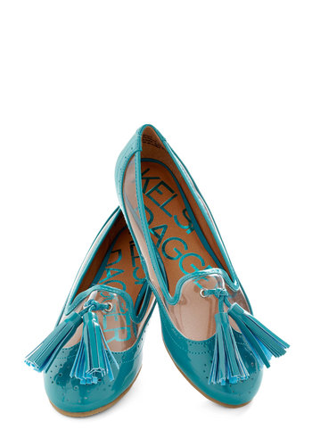 Number One Fandangle Flat by Kelsi Dagger - Blue, Solid, Tassles, Trim, Menswear Inspired, Scholastic/Collegiate, Flat, Work, Casual, Faux Leather