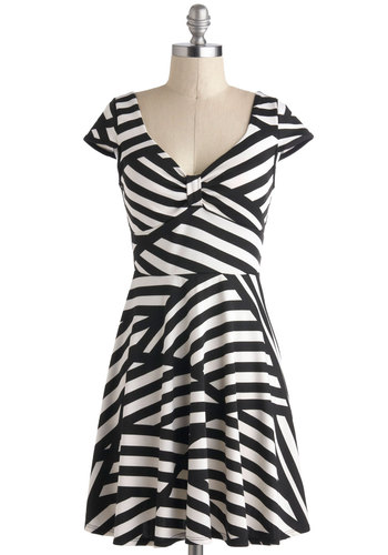 Print and Proper Dress - Black, White, Stripes, A-line, Cap Sleeves, V Neck, Casual, Short, Show On Featured Sale