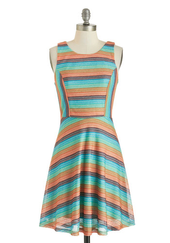 Now and Gem Dress - Mid-length, Multi, Green, Blue, Brown, Tan / Cream, Stripes, Casual, A-line, Scoop, Summer