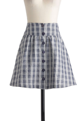 Grid to Go Skirt - Blue, White, Plaid, Buttons, Short, Pockets, Casual, A-line