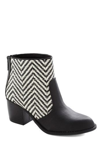 Modern Mirage Boot - Black, White, Chevron, Casual, Winter, Mid