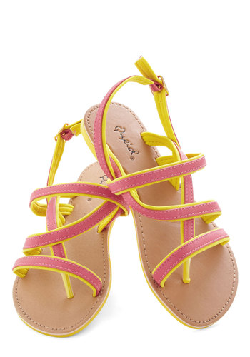 Strawberry Lemonade Sandal - Yellow, Trim, Beach/Resort, Summer, Flat, Pink, Casual, Faux Leather, Strappy
