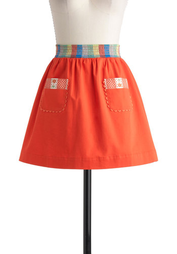 Windowsill Garden Skirt by Blutsgeschwister - International Designer, Short, Red, Multi, Solid, Embroidery, Casual, Folk Art, A-line