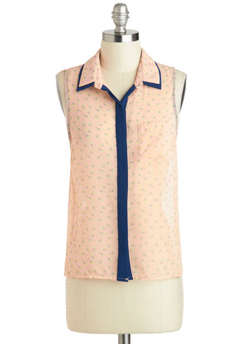 Berry Unexpected Top - Orange, Green, Blue, Buttons, Pockets, Sleeveless, Sheer, Short, Pastel, Button Down, Spring, Collared, Summer
