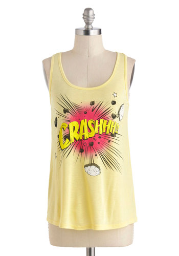 Smash Hit Top - Mid-length, Yellow, Casual, Tank top (2 thick straps), Racerback, Pink, Novelty Print, Scoop, Summer, Travel