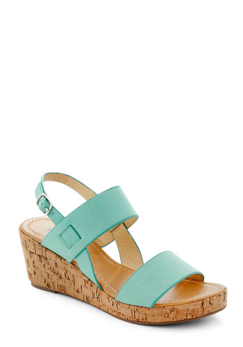 Have a Good Daydream Wedge in Mint - Blue, Daytime Party, Mid, Platform, Wedge, Variation, Solid, Beach/Resort, Summer