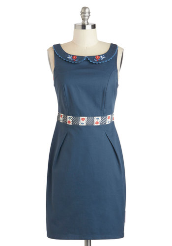 True Blue Love Dress by Blutsgeschwister - International Designer, Mid-length, Blue, Solid, Buttons, Peter Pan Collar, Shift, Tank top (2 thick straps), Collared, Embroidery, Casual, Folk Art, Cotton
