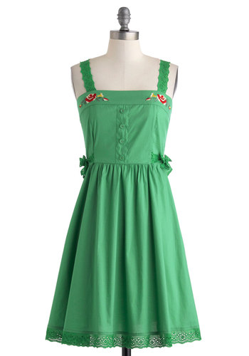 Craft Showstopper Dress by Blutsgeschwister - International Designer, Cotton, Mid-length, Green, Red, Solid, Bows, Buttons, Crochet, Embroidery, Daytime Party, A-line, Tank top (2 thick straps), Folk Art, Summer