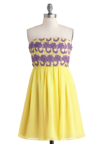 Lavender the Boardwalk Dress - Yellow, Purple, Lace, Daytime Party, Empire, Strapless, Mid-length, A-line, Graduation