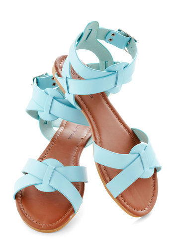 Reach the Sky Sandal - Blue, Solid, Summer, Flat, Beach/Resort