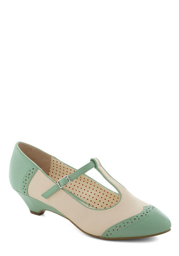 Care to Dance? Wedge in Mint by B.A.I.T. Footwear - Mint, Solid, Cutout, Pastel, Trim, Variation, Tan / Cream, Work, Daytime Party, Vintage Inspired, 20s, 30s, Mid, Leather, Faux Leather, Better, Mary Jane, T-Strap, Spring