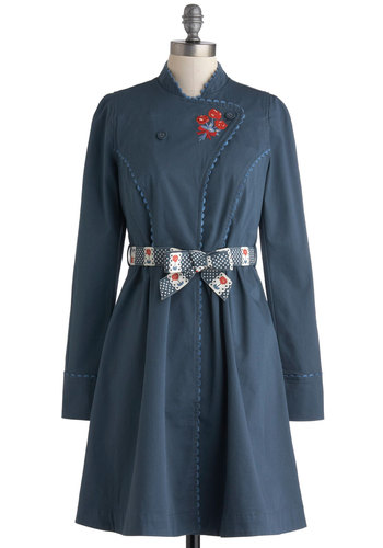 Walk Along the Waterfront Coat by Blutsgeschwister - International Designer, Cotton, Blue, Red, White, Buttons, Embroidery, Long Sleeve, 2, Solid, Pockets, Belted, Casual, Long