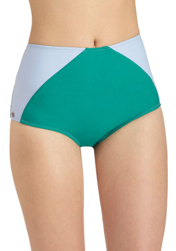 Park Party Swimsuit Bottom - Solid, Colorblocking, High Waist, Green, Blue, Beach/Resort, Pinup, Vintage Inspired, 50s, Summer