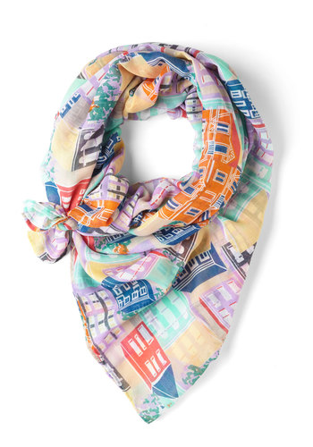Together and Apartment Scarf by Yumi - Multi, Print, Pastel, Novelty Print
