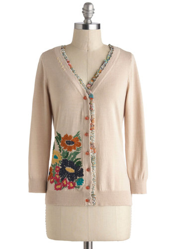 Bookshop Bouquet Cardigan by Nick & Mo - Cream, Yellow, Green, Pink, Solid, Buttons, Embroidery, Scallops, Work, Daytime Party, Vintage Inspired, Long Sleeve, Mid-length, Orange, Casual, V Neck