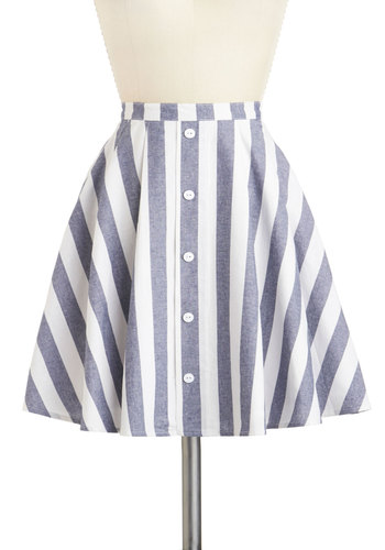 Happiness Abounds Skirt - Cotton, Mid-length, Stripes, Buttons, Nautical, Casual, Daytime Party, Vintage Inspired, Summer, Ballerina / Tutu, Blue, White, White, Blue