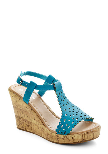 Sugar Cookie Cutie Wedge - Blue, Cutout, Scallops, Daytime Party, High, Platform, Wedge, Solid, Summer
