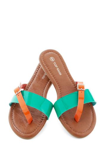 Streaked Sky Sandal in Teal - Blue, Orange, Buckles, Casual, Colorblocking, Flat, Beach/Resort, Variation, Summer, Faux Leather