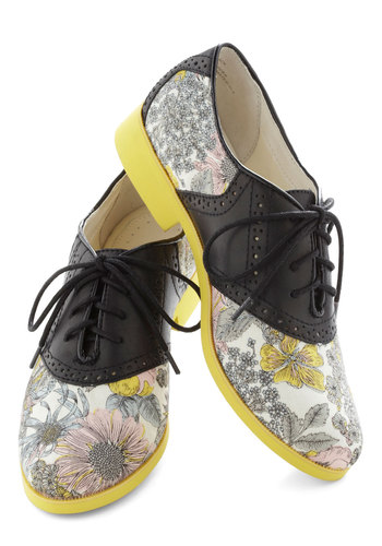 The Crack of Drawn Shoe by Bass - Low, Leather, Yellow, Black, Pink, White, Floral, Menswear Inspired, Casual, Lace Up