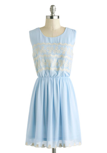 Bring Home The Balcony Dress - Blue, Silver, Embroidery, Daytime Party, A-line, Sleeveless, Scoop, Pastel, Spring, Mid-length, Summer