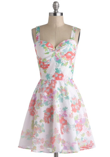 The Colorful High Life Dress - Mid-length, Cream, Multi, Floral, Daytime Party, Tank top (2 thick straps), Sweetheart, A-line, Spring, Summer